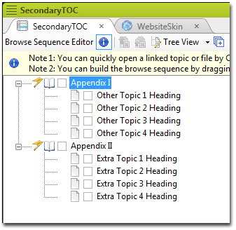 Secondary TOC Editor