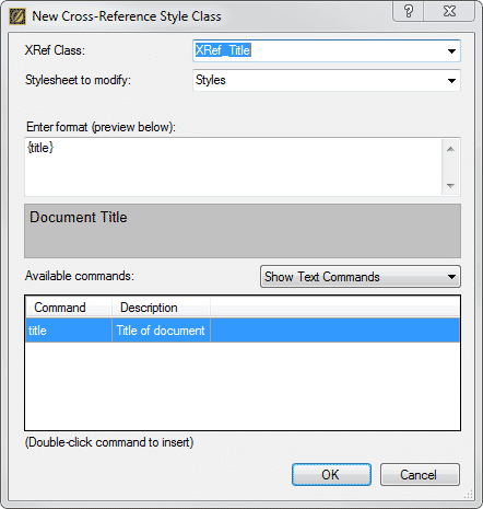 "Select ""Title"" from the Text Commands in the XRef Style Class Editing Dialog"