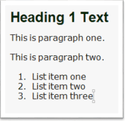 Screenshot of sample text, a heading, two paragraphs, and a list with three list items