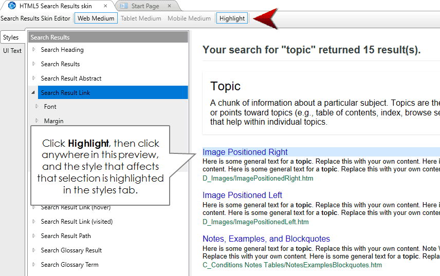 customizing search results page in madcap flare