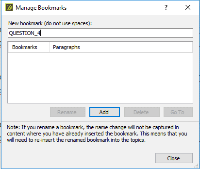 manage bookmarks dialog in MadCap Flare