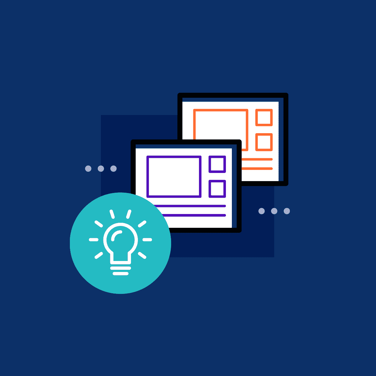 rough illustration of two monitors and a bulb of a technical documentation site