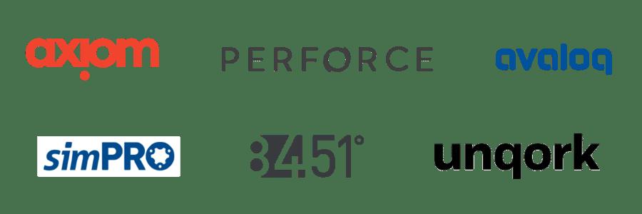 Axiom, Perforce, Unqork, 84.51, simPRO, Avaloq Logos