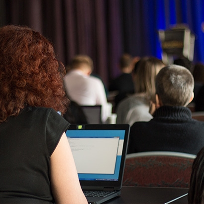 Attendee viewing a presentation